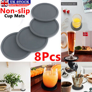 8pc Set Round Grey Silicone Coasters Non-slip Cup Mats Pad Drinks Table Glasses