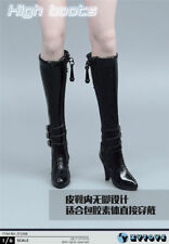 1/6 ZYTOYS Female Leather Boots Shoes Model Black High Tube Heels F 12'' Figures