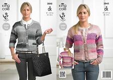 Ladies Cardigans in King Cole Shine DK Yarn Knitting Pattern 3845