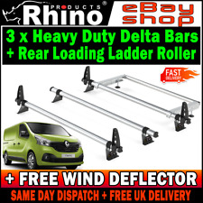 Renault Trafic Roof Rack Bars and Roller 3x Rhino 2014-2019 SWB-L1 LWB-L1 H1-LOW