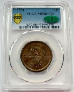 1851 BRAIDED HAIR LARGE CENT GRADED PCGS CAC MS66+ GREAT COLOR AMAZING LUSTER