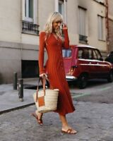 ZARA SS18 BRICK RIBBED DRESS WITH POLO COLLAR Size M Ref. 5755/007
