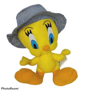 "Vintage Looney Toons Yellow Tweety Bird Wearing Hat Stuffed Animal 1998 10.5"""