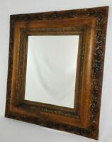 """Antique Ornate Carved Oak Gesso Wall Mirror Deep Frame Victorian 33"""" x 28"""""""