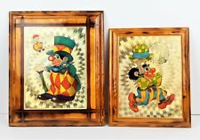 Wooden Clown Art Plaques Sparkly Gold Handcrafted by Cal Moore Lot of 2