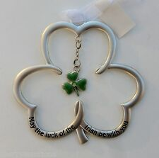 a D May the luck of Irish be with you Shamrock Ornament charm blessing ganz