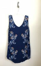 NWT Angie Size Large Sleeveless  Floral Blue Junior Women's V Neck Tank  Dress
