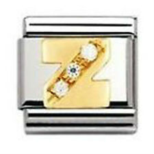 Genuine NOMINATION 18k Gold CZ LETTER Z Zirconia Link 030301 26 cj FREE DELIVERY