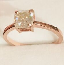 10K Solid Rose Gold Engagement Ring 1 Ct Approx Cushion Cut Moissanite in
