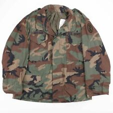 Vintage US ARMY Green Woodland Camo Cold Weather Field Jacket Size Men's Large