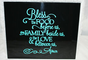 """13"""" x 11"""" Wall Hanging ~ Bless Food Family Love ~ Black with Turquoise Vinyl"""