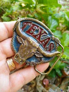 VINTAGE TEXAS STEER BELT BUCKLE / TEXAS LONGHORN STEER / VINTAGE BELT BUCKLE