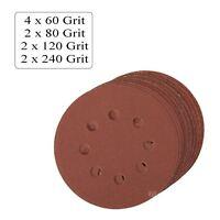 10 x Assorted Grit Hook and Loop 125mm Sanding Discs, Palm Orbital Sander Sheets