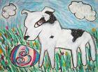 American Pit Bull Terrier Blue Skies Pop Folk Art Print 8 x 10 Dog Collectible