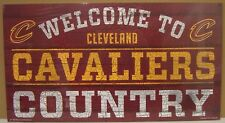 """CLEVELAND CAVALIERS WELCOME TO CAVALIERS COUNTRY WOOD SIGN 13""""X24'' WINCRAFT"""
