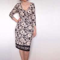 JANE LAMERTON Black Cream Floral Print Stretchy Wrap 3/4 Sleeve Dress Size 12 M