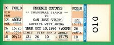 Phoenix Coyotes Inaugural First Home Game 1st Home Win Full Ticket 10/10/1996