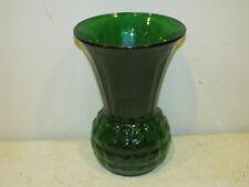 "Vintage Anchor Hocking Forest Green 9"" Waffle Pattern Vase VFC"