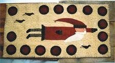 PRIMITIVE WOOL APPLIQUE PENNY RUG PATTERN FLYING SANTA WITH CROWS *NEW*