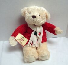 "Nwt 14"" Hallmark Jingle Bear Plays Jingle Bells Red Sweater Scarf"