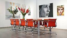 6x orig. VITRA Charles Eames Alu Chair EA 108 - Hopsak poppy red & Glanzchrom