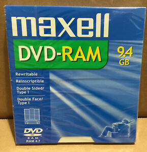 New MAXELL DVD-RAM 9.4GB Data Video Rewritable Double Sided Disc
