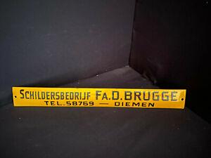 Schildersbedrijf Fa.D Brugge Emailschild - 35 x 4 cm - NL um 1950 Türschild