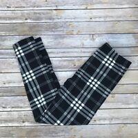 Black & White Plaid Women's Leggings Extra Plus Size TC2 18-24 Super Soft