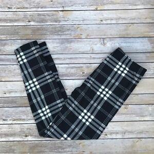 Black & White Plaid Women's Leggings Extra Plus Size TC2 16-22 Super Soft