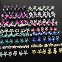 12PCS Lots Girls Sweet Rhinestone Crystal Flower Mini Hair Claws Clips Clamps ^^