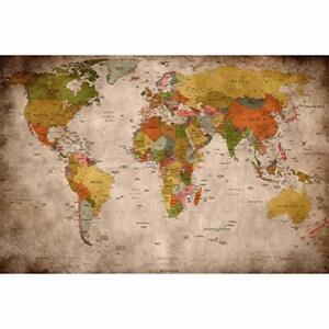 Carte du Monde Décoration Murale Vintage Rétro Ecole 140 x 100 cm Cartographie