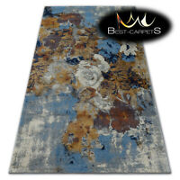 """VERY THICK AMAZING RUGS """"SOFT"""" Flowers blue mustard HIGH QUALITY best carpets"""