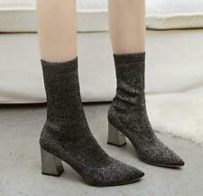 Women Pull On Mid Calf Knitted Elastic Block Heel Pointed Toe Shoes Sock Boot