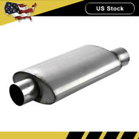 "3"" Inlet Outlet Muffler Exhaust Silencer Resonator Straight-through Oval US"