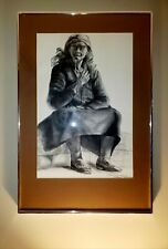 """Exceptional vintage pastel and charcoal drawing of a """"Old Beggar Lady in Lisbon"""""""