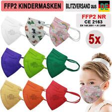 🔷🔶 5 x FFP2 Kinder Maske KINDERMASKEN 5-lagig CE ZERTIFIKAT Farbig 9 Farben