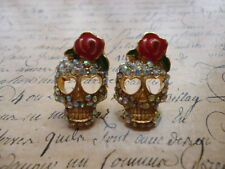 Gold Retro Punk Crystal Heart Pink Rose Gothic Skull Jewellery Stud Earrings