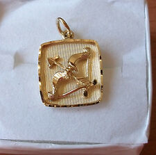 """BOW & ARROW SQUARE CHARM """"LOVE"""" 3-D RAISED LOOK GOLD OVER SILVER 925 ENGRAVED"""