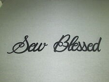 SEW BLESSED Wood Wall Words Decor Sign Sewing Room Art