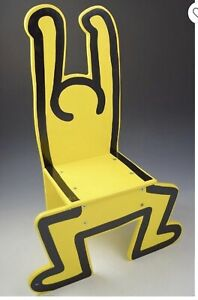 Keith Haring Chair yellow Natural wood design rare (needs Hardware/screws)