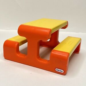 Vintage Little Tikes Dollhouse Picnic Table Yellow Orange Doll Furniture Mini