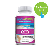 Vitamin K2 + D3 Supplement for Bone & Heart Health - 60 Caps x 3