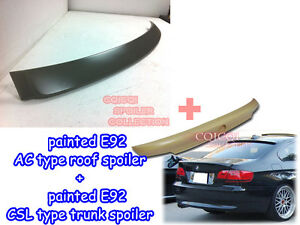 Painted BMW 07~13 E92 3 coupe CSL type trunk spoiler + A type roof spoiler ◎