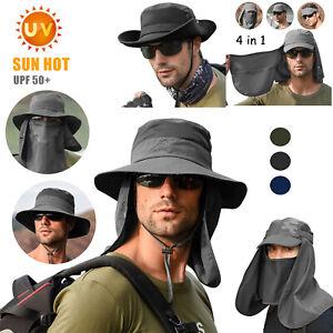 Men Women Sun Protection Hat Neck Face Flap Cap Wide Brim Hot Fishing Bucket Hat