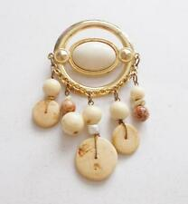 VINTAGE GOLD TONE CREAM LUCITE WOODEN BEADS CHARM STATEMENT BROOCH