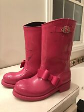 VALENTINO RED V BOW  PINK RAIN BOOTS SIZE 39