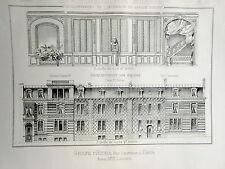 Groupe d'Hotels rue Lauriston  Paris 1887 vintage print / gravure