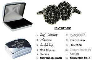 Pewter English Tudor Rose Cufflinks + Personalised Chrome Engraved Case XWCL032