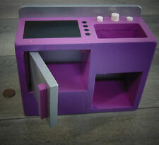"Kidkraft 11"" Barbie Doll Purple KITCHEN STOVE & SINK Wooden Dollhouse Furniture!"