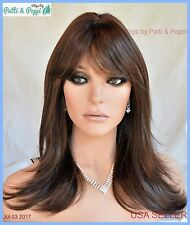 Skin Top Mid Length Wig Layered with Bangs Color 8/14HL USA Seller